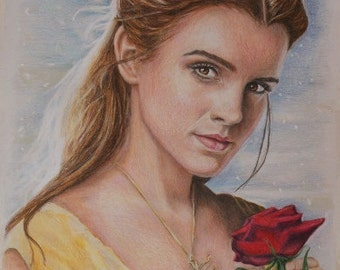 Print of Emma Watson as Belle from Beauty and the Beast 2017