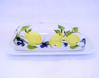 Butter dish, butter dish with pears, butter dish with blueberries, kitchen decor, painted butter dish, serving butter dish