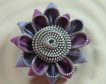 Purple Recycled Vintage Zipper Flower Hair Clip or Brooch
