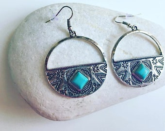 Boho Aztec mood in silver and turquoise earrings