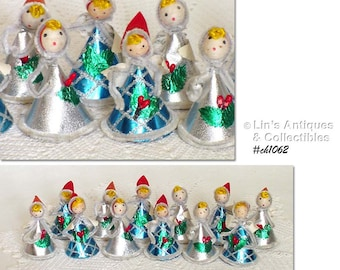 One Dozen Vintage Christmas Angels with Spun Cotton Heads (Item #CH1062)