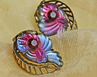 EdLee Molded Glass Vintage Earrings with Red Rhinestone Ed Lee