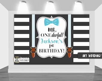 DIGITAL Printable Backdrop|| Mr. ONEderful backdrop||Gentleman Baby Shower|| Customizable|| Any Wording|| You Print The File