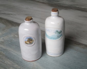 Small Ceramic Vinegar & Oil Cruets White Containers Pottery Olive Oil Bottle Set