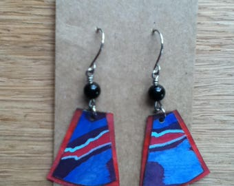 Hypoallergenic Niobium Earrings, Hand Painted, Birch Wood Earrings, Lightweight Earrings