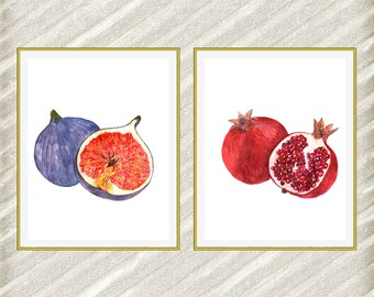 Fruit print watercolor print Fig print Kitchen wall decor Home Decor Fig Poster Digital Print Tropical Print Pomegranate Print set of 2