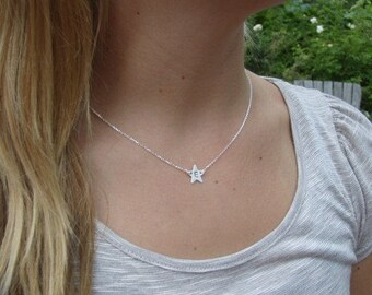 Star Initial Necklace - Personalized Necklace - Letter necklace - Star jewelry - Choker Necklace - Personalized Sterling silver Jewelry