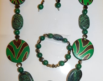 Green / Brown Necklace, Bracelet, Earring Set
