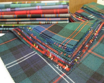 Tartan Fabric Patchwork Patches 10 Squares 23 cm x 23 cm 100% Pure Wool