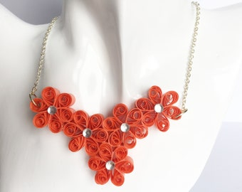 Beautiful eco-friendly paper flower necklace