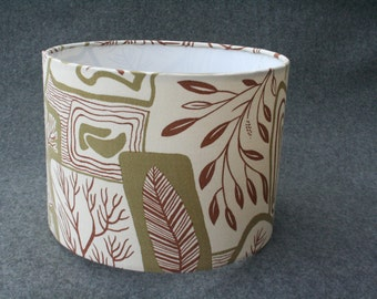 Handmade lampshade using vintage 1950's woodland fabric
