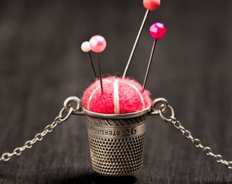 """Handmade Sterling Silver Pincushion Necklace 20"""" Magenta Dark Pink Wool Felt, Antique Sterling Thimble and Chain, Pins for Sewing Quilting"""