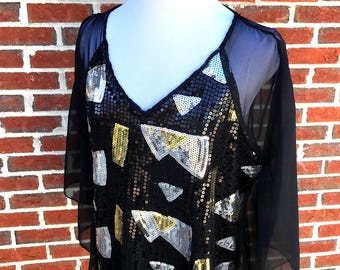 Vintage Black and Gold Sequin Top - Sheer Back Batwing Blouse - V Neck Sequin Blouse with Open Sheer Back