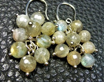 Lovely Natural Labradorite Plated Silver Cluster Earrings