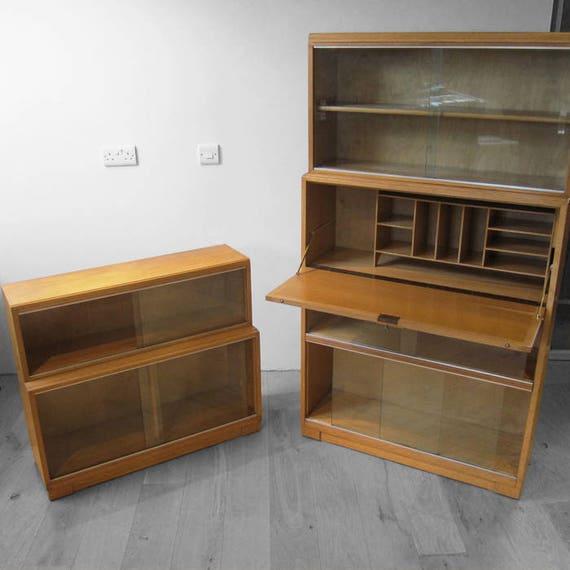 Stacking Bureau Book Shelf Cupboard Oak Mid Century MINTY Cabinet Modernist