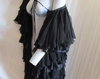 1990 Chloe Silk Ruffled Duster Noir France Prairie Couture XS
