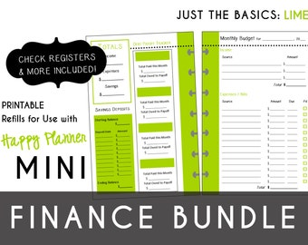 MINI Happy Planner FINANCE Bundle  Check Register, Monthly Budget, Debt Payoff Tracker, Debtor Contacts Passwords Printable PDF Lime