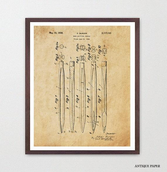 Knitting Needle Patent Poster - Knitting Patent - Knitting Art - Knitting Poster - Knitting Wall Art - Knit Decor - Knit Art - Sewing - Yarn