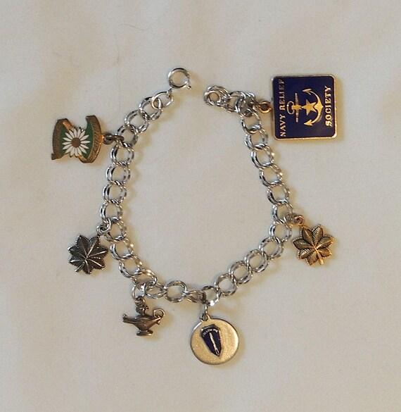 Vintage Sterling Silver Double Link Charm Bracelet.. Army Navy