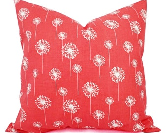 Two Coral Throw Pillows - Dandelion Pillows - Coral Dandelion Decorative Throw Pillows - Couch Pillows - Accent Pillow - Coral Pillows