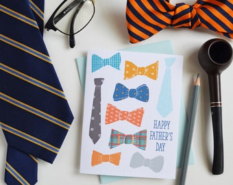 Happy Father's Day, Father's Day Card, Dad, Daddy, Greeting Card, Bow Tie, Tie, Gentleman,  Stationery, Hand Drawn, Illustration