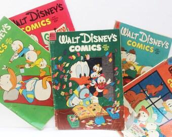 5 Walt Disney Comics, Donald Duck, #148, #151, #155, #161, #167 from 1953 and 1954, Golden Age Comics, Vintage Comic Books