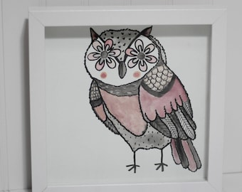 Framed Watercolor Owl Painting