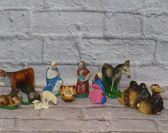 Old Antique Vintage JAPAN NATIVITY Christmas Lot of Figures Mary Baby Jesus Joseph Animals for Creche