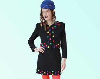 90s Major Vintage Set Black and Embellished Colorful Highwaist Mini Skirt Cropped Jacket Cher Clueless AS IF VTG