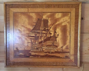 Wooden Mozaic Ship Wall Art