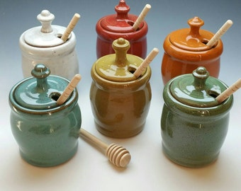 NEW Honey Pot, (FREE POTTERY Gift with order!) Several available colors, Handmade Ceramic Honey Jar and Dipper
