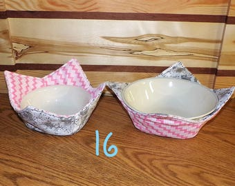 BCZY-16-17-18-19-20-21) Microwave BOWL COZIES, 1 set , 2 bowl cozies, several sets to choose from