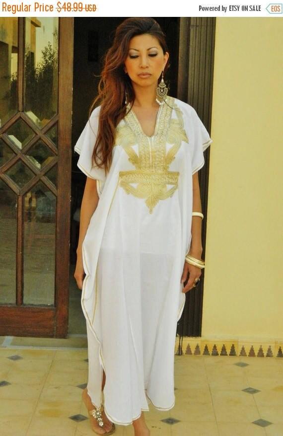White Kaftan Dress Kaftan Moroccan Resort Caftan Kaftan Marrakech-White Gold Embroidery, beach cover ups, resort ,winter dress, Ramadan, Eid