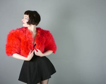 Cropped FEATHER bolero jacket in vivid RED by Vera Mont - 70s 80s club kid fuzzy oversized maribou burlesque top - M