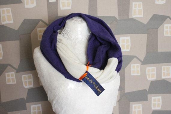 Blue/White HIS Wool Loop, Two Coloured Wool Men's Loop, 2 COLOURED Unisex Scarf/Loop