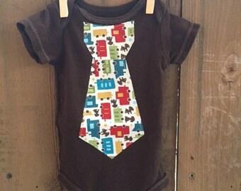 Newborn Bodysuit with a Puppy/Train Iron On Tie