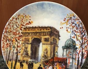 """French Limoges Porcelain Plate 'L 'Arc De Triomphe'  Arch of Triumph by Louis Dali 8 1/2"""""""