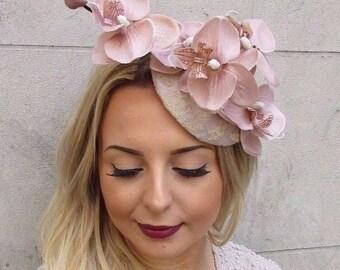 Nude Beige Cream Orchid Flower Fascinator Hat Wedding Hair Clip Races Vtg 2973