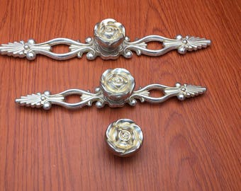 Rose--Ancient silver Shabby Chic Dresser Drawer Pulls Handles /  Rose Cabinet Pull Handle Knobs Furniture Hardware