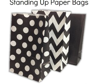 Set of 12, 24 Black - Chevron, Polka Dots, Plain (Solid)Paper Bag Flat Bottom Bags, Gift Bags, Party, Lolly,Favour, Wedding, Packaging, Loot