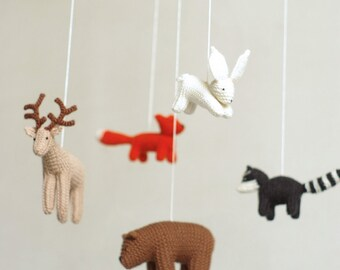 baby mobile - woodland baby mobile - forest animals mobile - baby shower gift - made to order