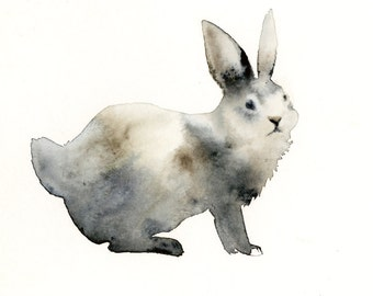 Animal art, animal watercolor painting, animal print- rabbit art,woodland, forest, nature, watercolor