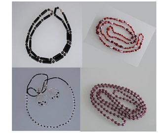 Vintage West German Flapper Bead Necklace, Flapper Necklace and Earrings, Long Flapper Necklace