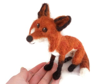 Custom Fox- needle felted fox soft dog plushie sculpture