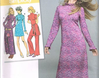 Size 6-14 Misses' Dress Sewing Pattern - 1970 Retro Maxi Dress Pattern - 1970 Retro Mini Dress - Long Dress Pattern - Simplicity 8256