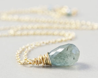 Moss Aquamarine Necklace, March Birthstone Necklace, Sage Green Necklace