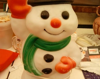 Vintage 18in Empire Snowman Christmas lighted blow mold