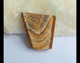 Natural  Picture Jasper Gemstone Pendant Bead,35x8mm,20.3g(z0132)