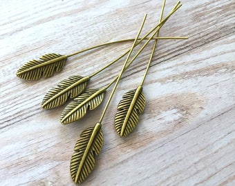 free UK postage Pack of 5 Antique Bronze Head Pins Feather