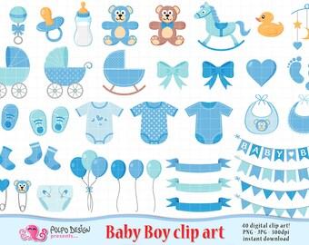 Baby Boy clipart. Its a boy Scrapbooking Baby Boy clip art, baby shower clipart, baby shower clip art, new born blue digital clip art, Teddy